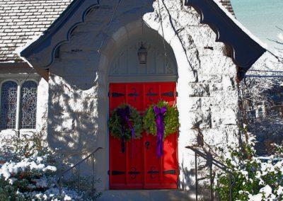 St Johns Front Door in Winter